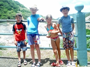 Kids at the volcano