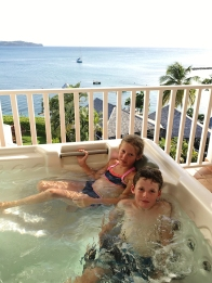 Luxury of a hot tub, oh and we can see the boat