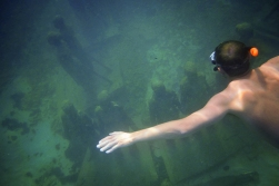 Alan diving down