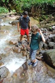 Trekking up the waterfalls